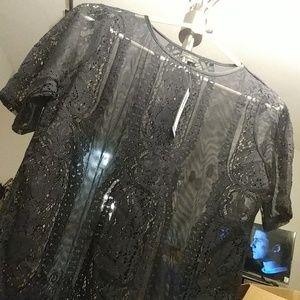 Worthington Tops - Petite Medium Black lacy top